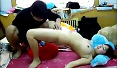 Asian toys tits pussy hard with creampie