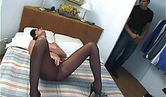 Bailey banged in sofa while pantyhose covering her ass