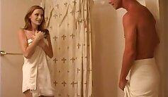 Awesome redhead washing pecker on small bathroom slant