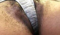 BBW fucking her pussy with panties on