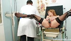 Big boobs milf nurse in stockings showing off her well