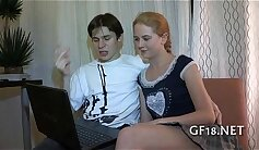 skinny little bitch with legs spread out is fucked doggy style