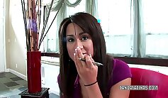 super hot lady giving handjob