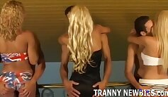 Blonde Hottie Ada Poirot and her big ass are arousing some gangbanged shemale