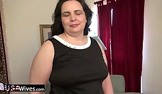 Blonde mature gives amazing solo exercise with her new dildo