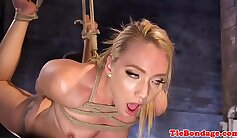 Blonde with a nice pussy is feeling anal bondage here