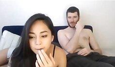 amateur sucks a big dick to her boyfriend on webcam