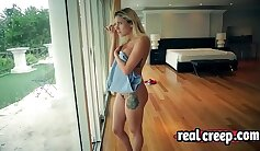 Blonde cutie riding to force orgasm