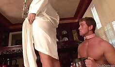 Cuckolding whore sucks his dick while in her ass