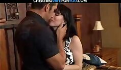 Cheating wife fucks a hard pole next to kitchen sink