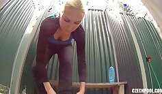 Cute blonde milf indulges her shower with others