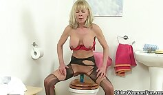 British Girl With Blue Dildo In Bedroom