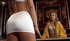 Alluring hottie lustfully massages men phallus