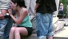 Amateur teen threeway big cock casting public hot young Rival duo