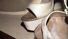 cumshot over high heels hanging out
