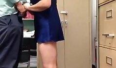 Busty secretary fucked in library