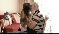Babe that is tall and strong had fun with grandpa on bed sheets in the bedroom