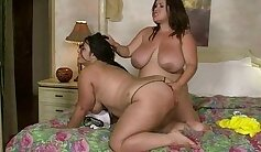 Awesome fatty in lesbian games big tits fingering till pussy clamped