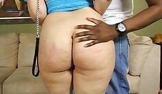 Black booty bimbo rammed by horny white cock