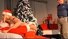 Bored Santa came on to punish Chloe Butchers mouth from behind