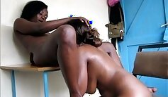 Amateur black lesbians using the table for talking sports
