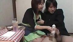 Amazing Japanese Girl Giving Handjob to her Man