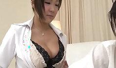 Asian cutie in blue bra suffers while sucking cock
