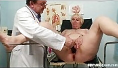 Chubby blonde with huge hairy pussy masturbates