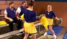 Cheerleader gets her tits rammed
